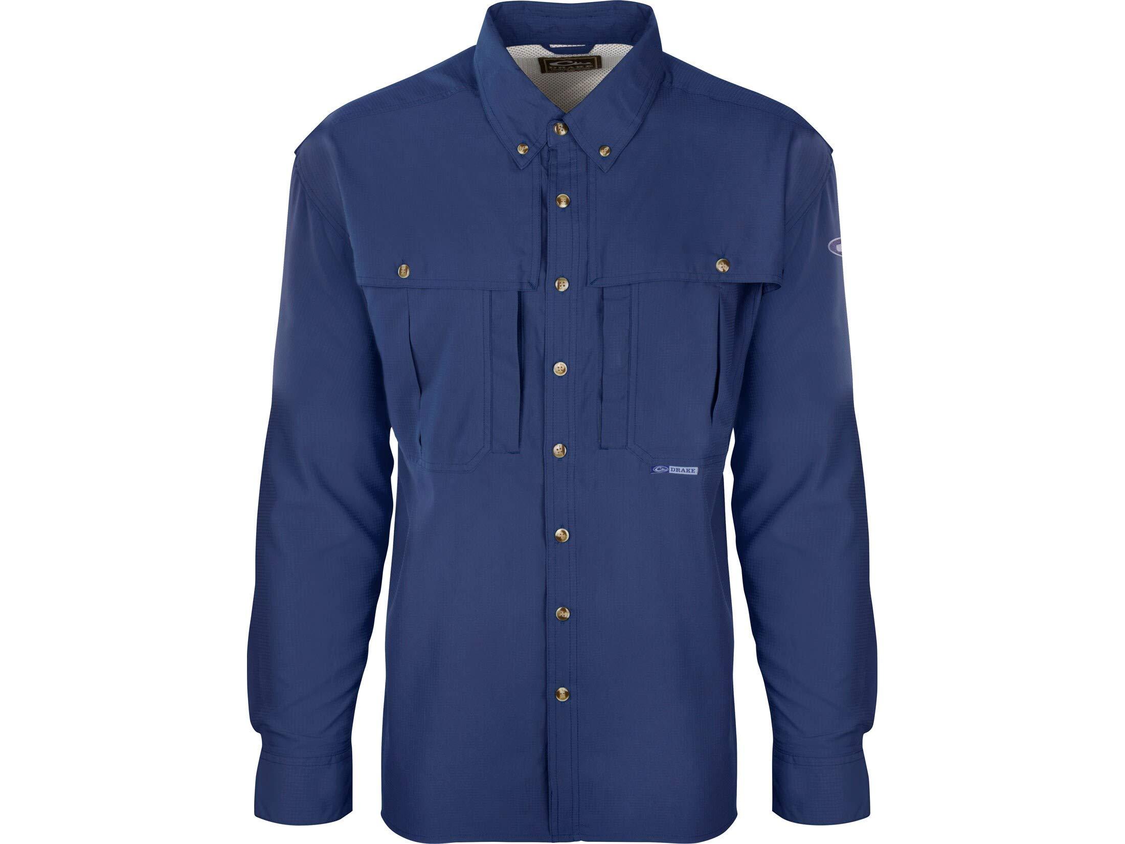Drake Men's Flyweight Wingshooter's Shirt Long Sleeve Polyester Cobalt Medium by Drake