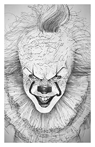 Spooky Clown Giclee Print From A Pencil Drawing Of It