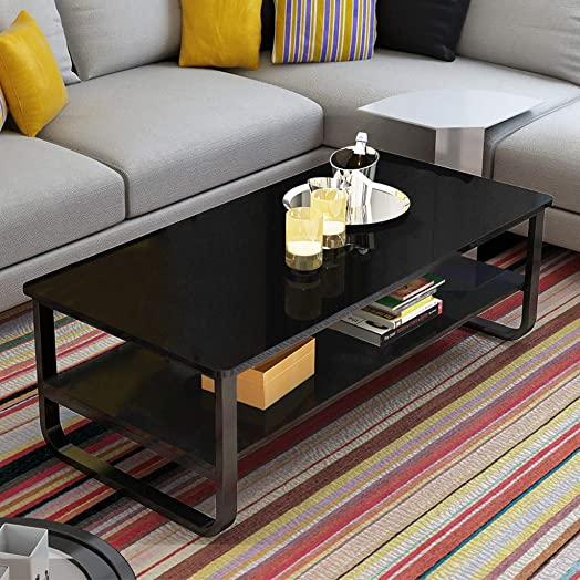 Simple Living Room Table Modern Home Coffee Table 2-Tier Assembly Small Apartment Tea Table 47 22.8Inch Black