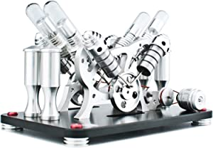 DjuiinoStar Hot Air Stirling Engine (4-Cylinder), Electricity Generator (Light up LED), Ready to Run (Glass Heat Tube)