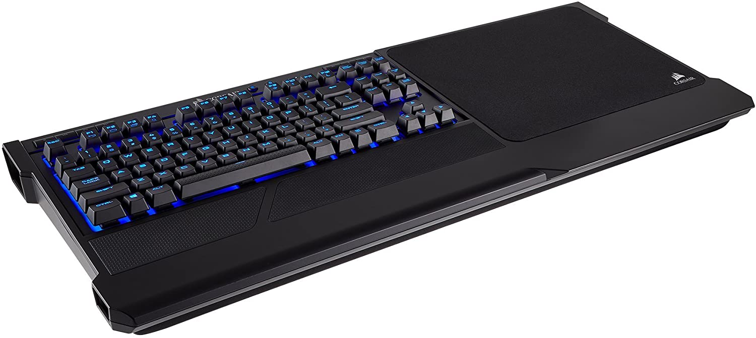 Corsair K63 Wireless Mechanical Keyboard & Gaming Lapboard Combo - Game Comfortably on Your Couch - Backlit Blue Led, Cherry MX Red - Quiet & Linear (CH-9515031-NA)