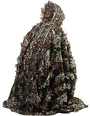WEIWEITOE Hojas 3D realistas Camuflaje Poncho Capa Trajes sigilosos Woodland Exterior CS Juego Ropa para Caza