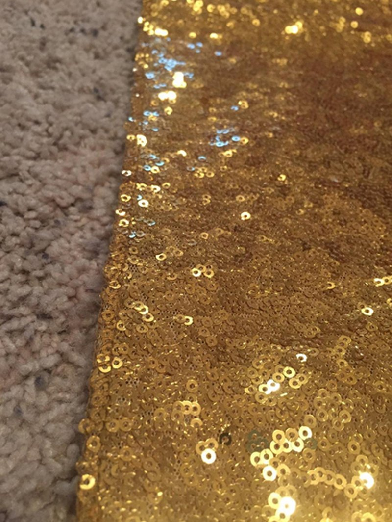 LQIAO Gold Sequin Table Runner-14x108inch Sparkly Shimmer Sequin Fabric, Sequin Table Runner, Sequin Tablecloth, Table Linens Wedding Dining Party Shiny Decoration(18PCS) by LQIAO