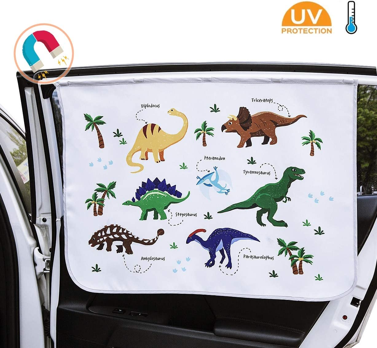 """BANYBUCKS Car Side Window Sun Shade for Baby - Universal Strong Magnet Curtain - Sun, Glare and UV Rays Protection for Your Child and Kids - Sunshade Size : 28.7"""" x 20.8"""" - 1EA - (Dinosaur)"""