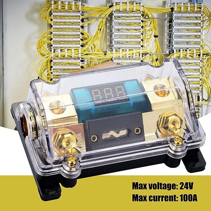 24v 100a Audio Fuse Holder Car Audio Digital Breaker Fuse Holder Distribution Block With Lcd Display Beleuchtung