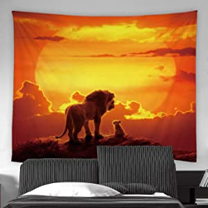 AMFD Lion Tapestry Lion King Prairie Animal Sunset Sun Golden Cloud Orange Home Decor Wall Hanging Art for Living Room Bedroom Dorm 90x71 Inch