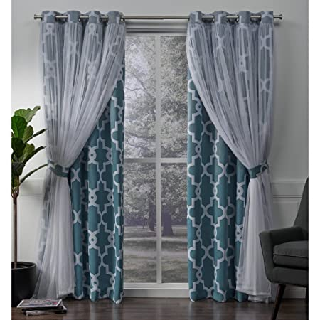 Exclusive Home Curtains Alegra Layered Geometric Blackout and Sheer Window Curtain Panel Pair with Grommet Top, 52×108, Turquoise, 2 Piece