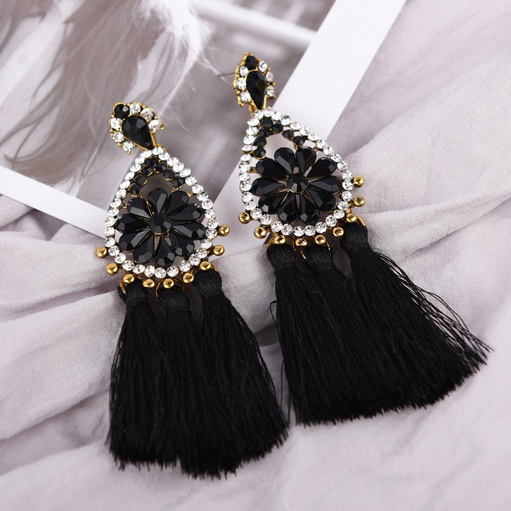 Tassel Dangle Drop Stud Earrings - YIFEI 2018 New Design Rhinestone Bohemian Chandelier Teardrop Statement Handmade Dangling Fringe Earrings For Womens by YIFEI (Image #4)