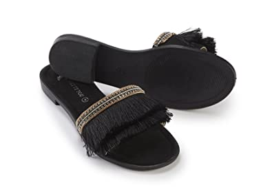 23507c394f70a1 Pretty You Black Fringed Slider Sandal  Amazon.co.uk  Shoes   Bags