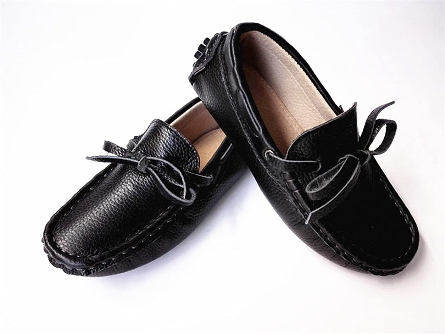 TDA Kids Comfort Lovely Black Leather Boat Shoes Loafers Flats 2 M US