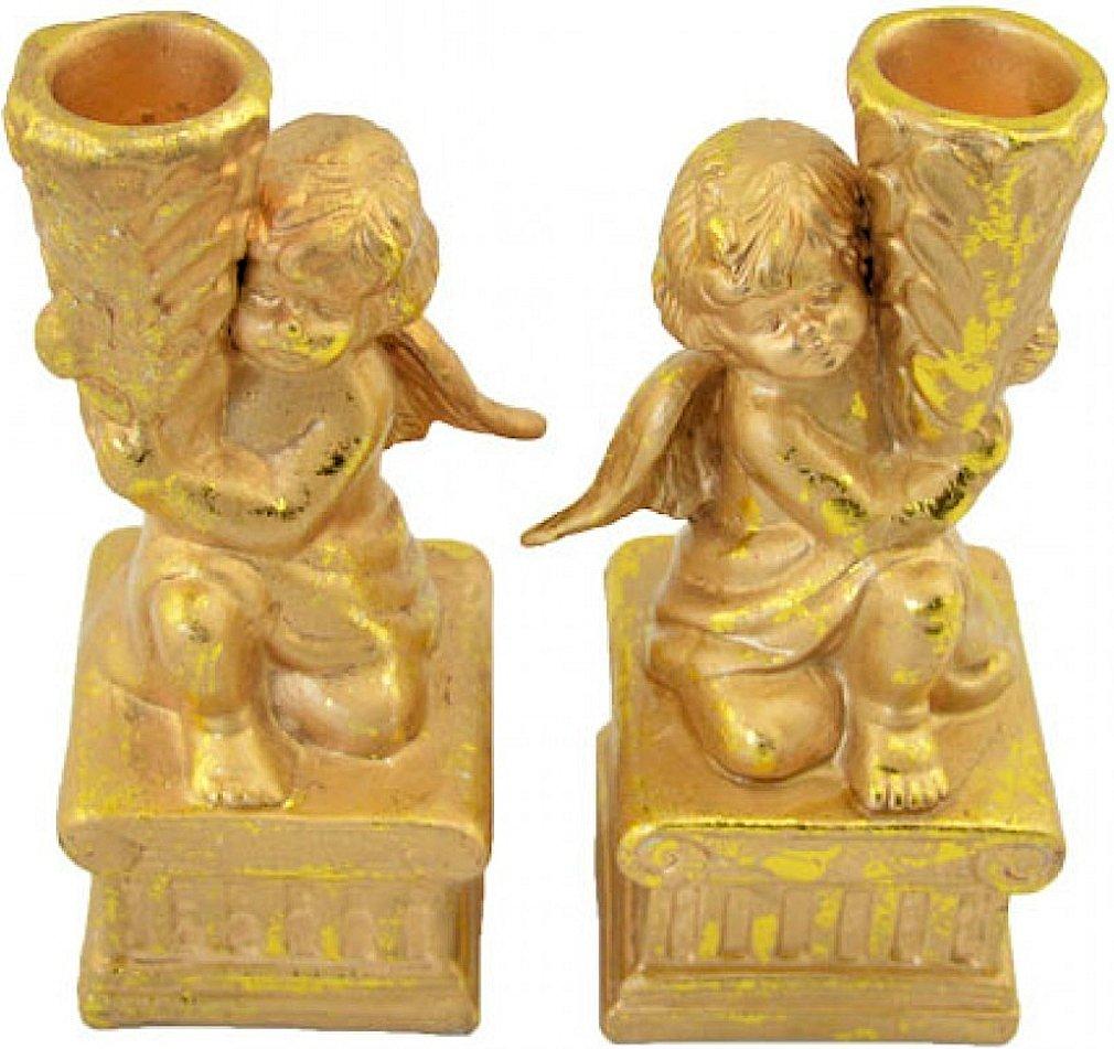 Couleur Lot de 2/bougies d/écoratives Support bougies chandelier Ange 14,5/cm Convient comme d/écoration non seulement pour No/ël. Dor/é