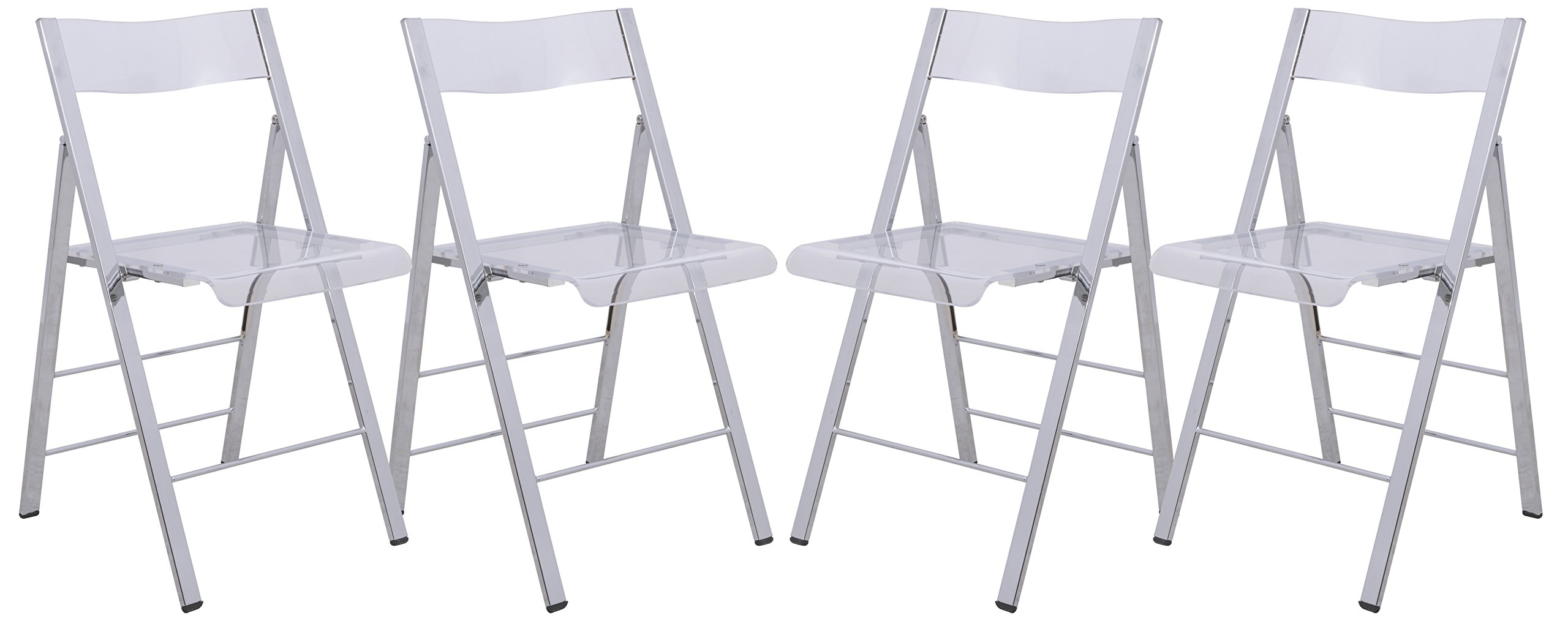 LeisureMod Milden Modern Acrylic Folding Chairs, Set of 4 (Clear)