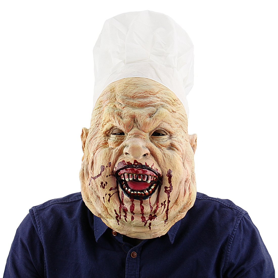 Halloween Party Terror Chef Scary Clown Death Masks Props Bloody Butcher Mask Novelty Latex Rubber Creepy Head Mask Costume Decorations