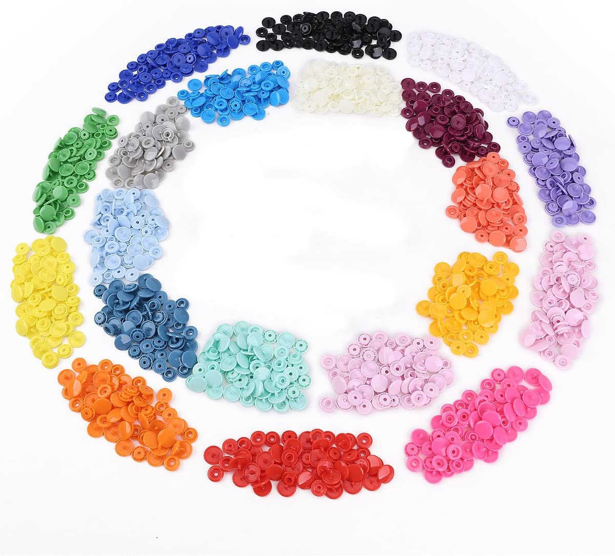 300pcs T5 Snaps Botón Plastico Redondo para DIY Manualidades #718