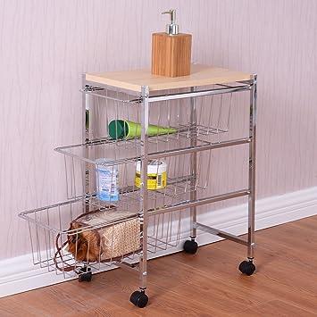 5 Tier alambre de acero Rolling carrito de cocina con isla soporte estante accesorio de 4 cestas: Amazon.es: Hogar