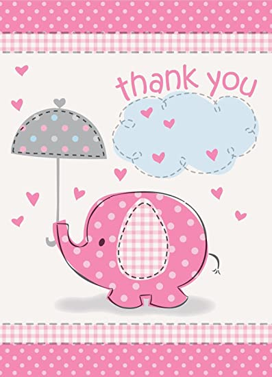 Amazon.com: Umbrella Elephant Girl Baby Shower Thank You Notes w ...