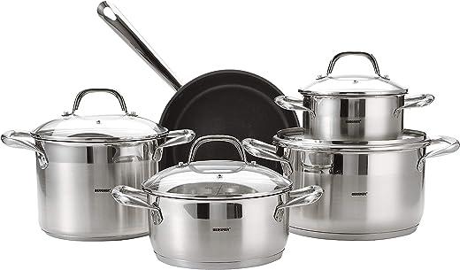 BERGNER BG4391 9piece Gourmet Stainless Steel Cookware Set, Induction, Silver, 18/10 Steel