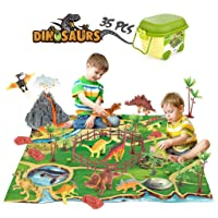 Dinosaur Toy Figure Playsets Play Mat, Educational Realistic Preschool Dinosaur Action Figure Create a Dino World Including T-Rex,Triceratops,Toy Activity Gifts for Kids, Boys & Girls Toddler (35 PCS)