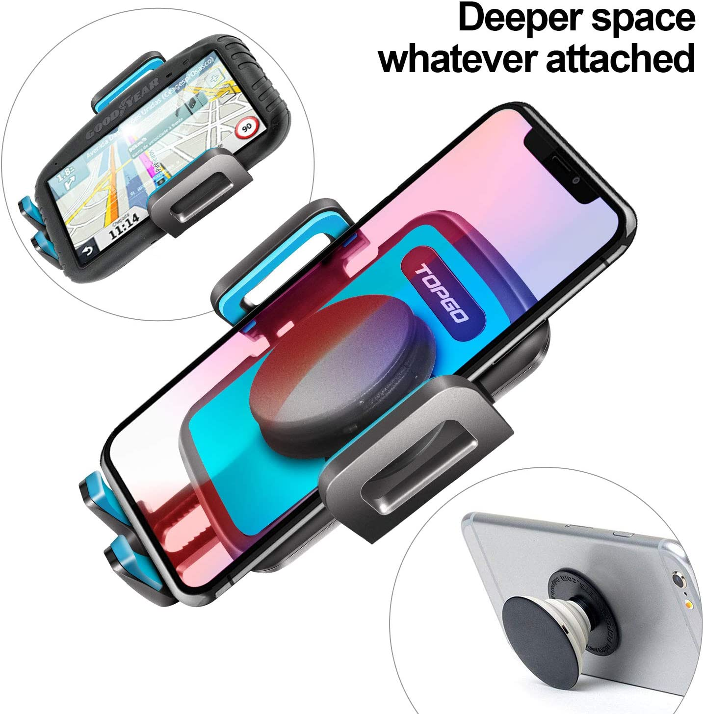 Car-Cup-Holder-Phone-Mount Adjustable Long Pole Automobile Cup Holder Smart Phone Cradle Car Mount for iPhone 11 Pro//XR//XS Max//X//8//7 Plus//6s//Samsung S10 //Note 9//S8 Plus//S7 Edge-Grey
