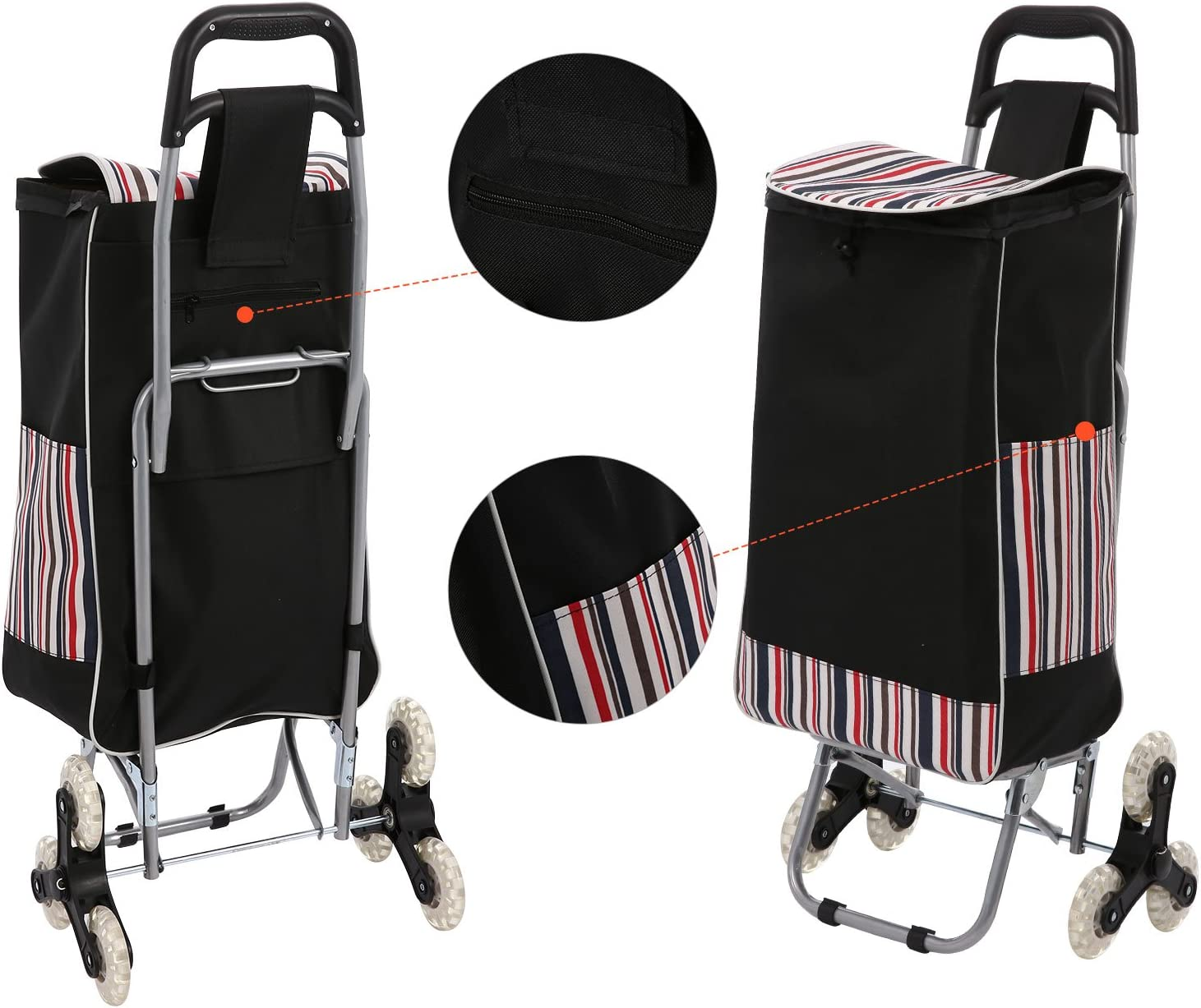 Folding Shopping Cart, Grocery Stair Climbing Trolley Cart Large-Capacity Laundry Utility Cart with Quiet Tri-Wheels Removable Waterproof Bag Black