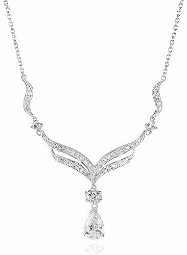 502920cd017 Amazon.com: Sterling Silver Swarovski Cubic Zirconia Teardrop Necklace:  Jewelry