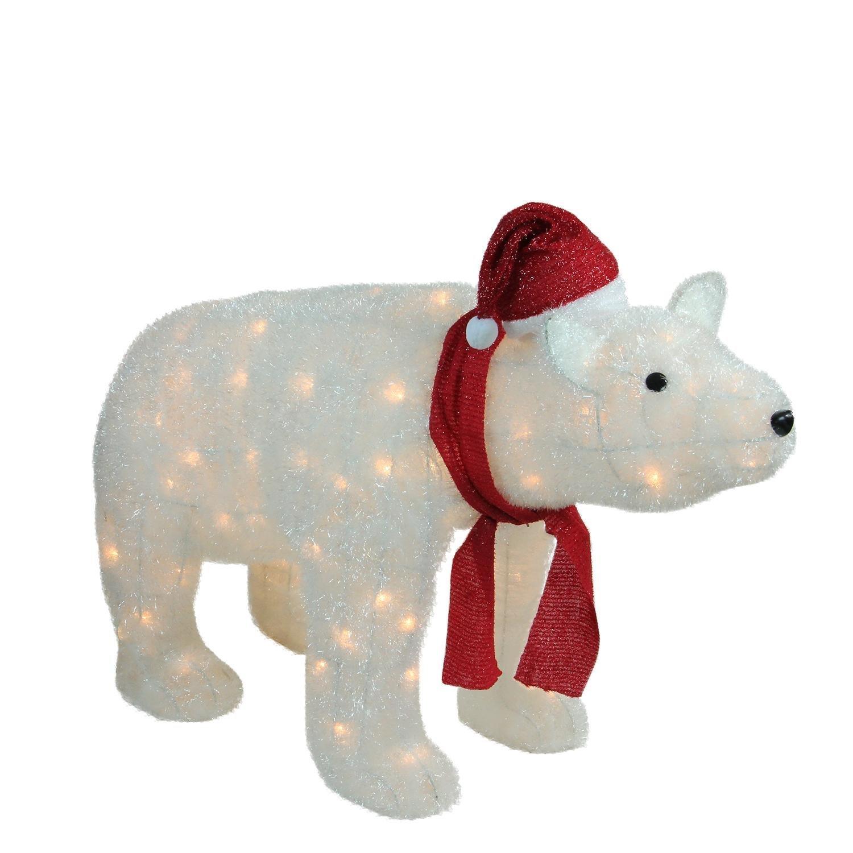 Northlight 36'' LED Lighted White Glittered Polar Bear Christmas Yard Art Decoration by Northlight