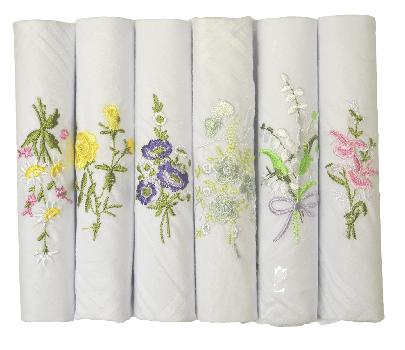 6 Pack Womens/Ladies White Floral Embroidered Handkerchiefs 100% Pure Cotton, In & Gift Box