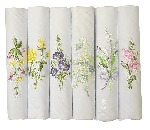 6 Paquete En Mujeres/Damas Pañuelos Bordados Florales Blanco 100% Puro Algodón Y La Caja De Regalo