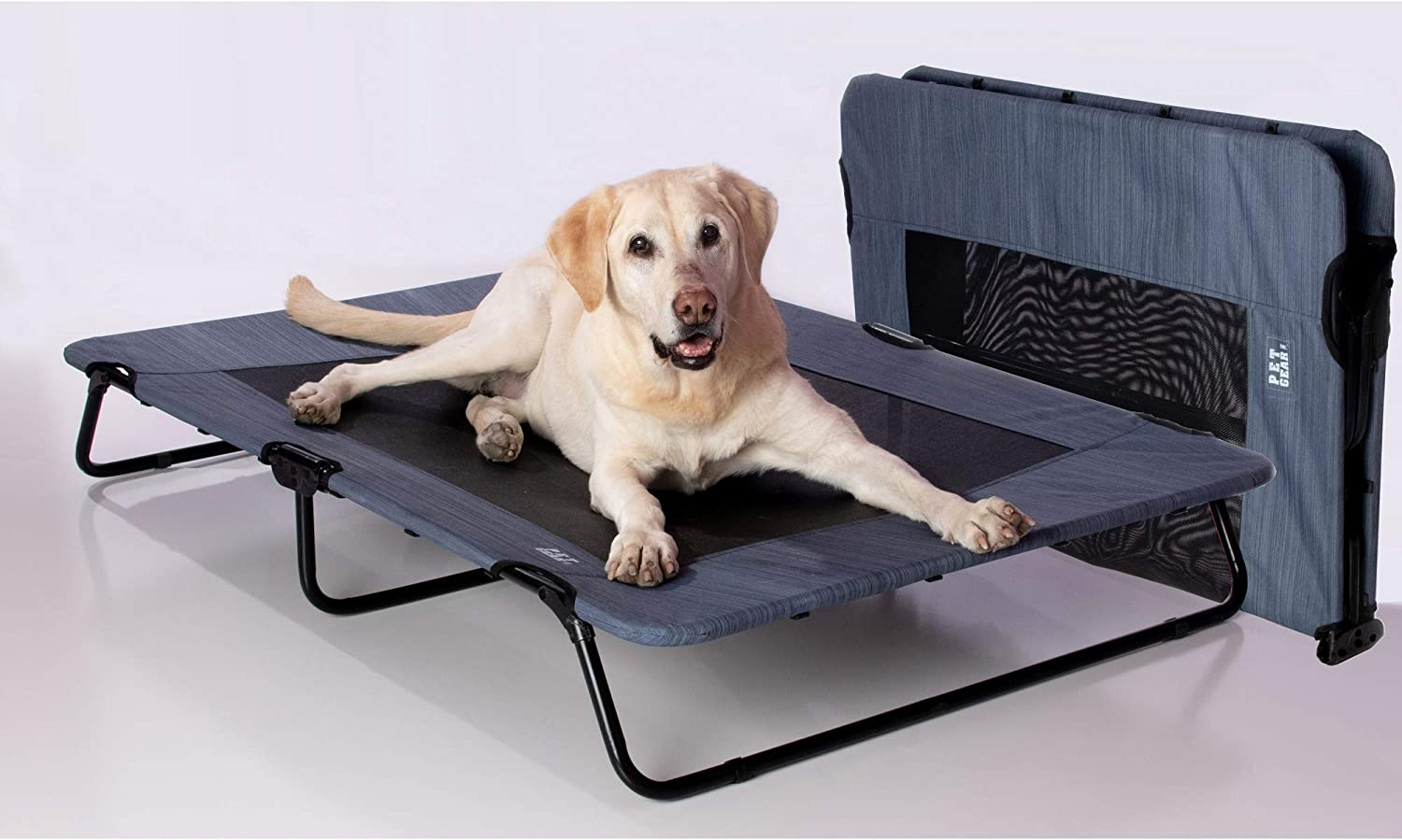 Pet Gear Lifestyle Pet Cot Elevated Bed | No Assembly Required | Premium Tear Resistant Cooling Mesh | Indoor & Outdoor | Lightweight & Portable