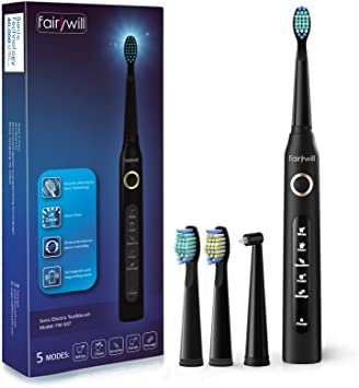 Fairywill sonic electric toothbrush, brush your teeth like at the dentist clinic. A charge of 4 hours lasts min 30 days, 5 cleaning modes, 2 minutes timer, 4 brush heads, FW507.: Amazon.de: Drogerie & Körperpflege