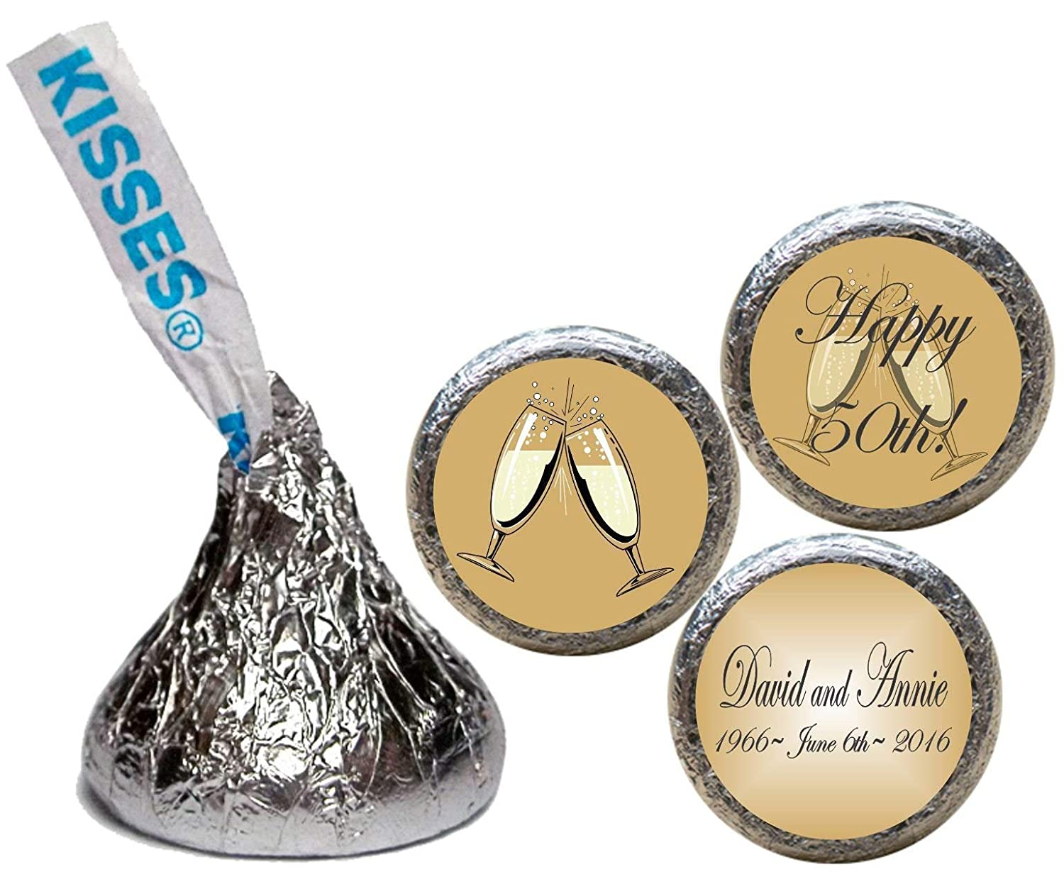 Set of 108 50th Anniversary Stickers for the Bottom of Chocolate Kisses RChampGlassG