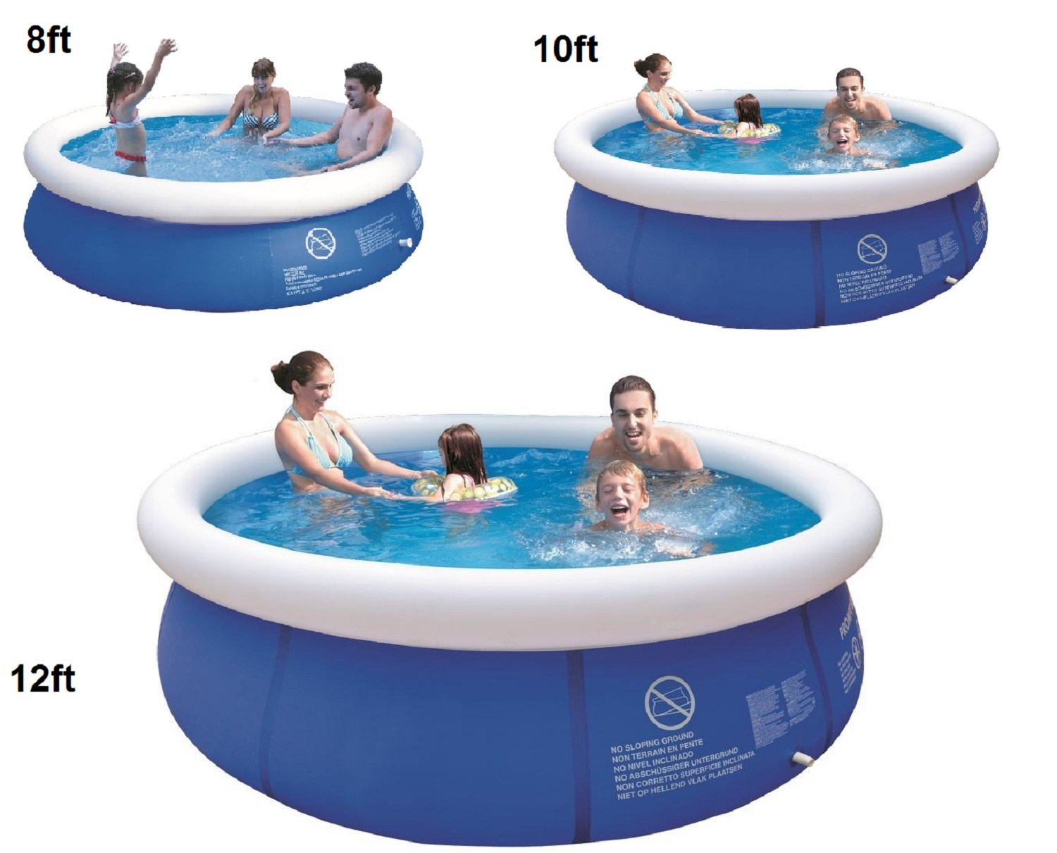 8'10'12'ft Prompt Set Round Inflatable Family Swimming Paddling Pool Garden Outdoor (10ft pool) IMPRESSIONS ONLINE
