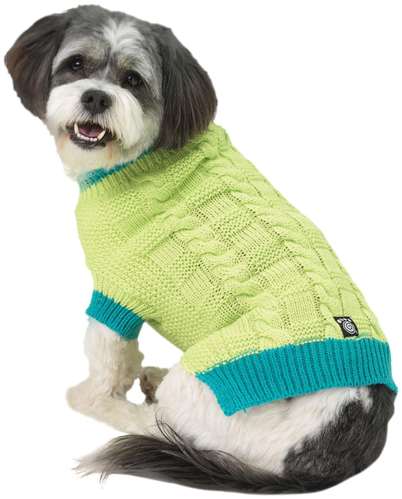 Petrageous Designs Cody'S Chunky Cable Sweater - Lime/Teal - X-Small