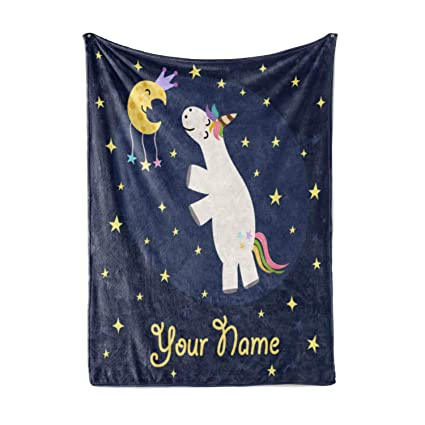 421b9b8353 Personalized Corner Custom Girl Cute Unicorn Fleece Throw Blanket for Kids  - Newborn Girls Baby Toddler