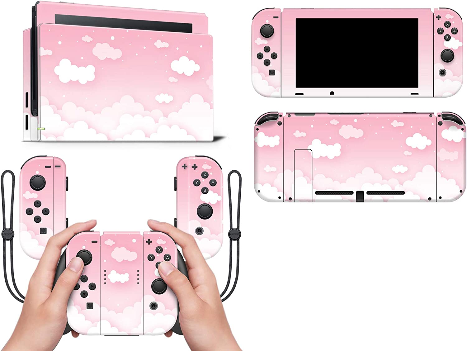 Pastel Pink Sky Clouds Full wrap Vinyl Skin Made with Premium Vinyl with overlaminate