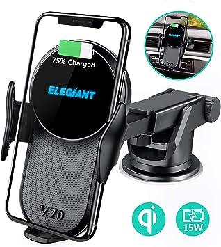 ELEGIANT Cargador Inalámbrico Rápido Coche 10W Qi con Soporte de Carga Inductivo 2 en 1 Sostenedor para Celular Móvil con Ventilador de para iPhone