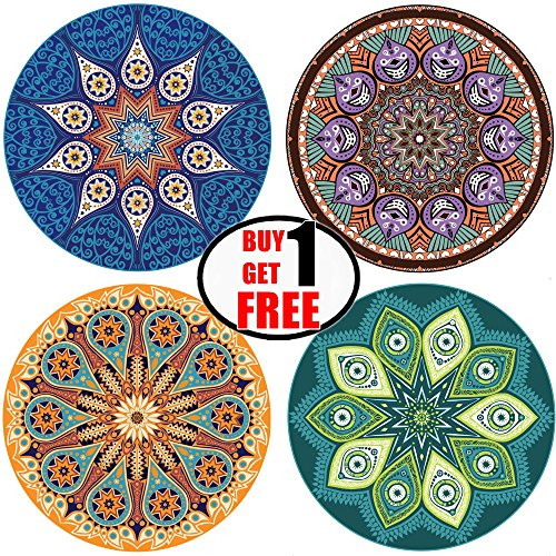 "ENKORE Absorbent Ceramic Stone Coaster For Drinks - MANDALA, 4 Pack Large 4.3"" Size With Cork Back - TODAY ONLY, GET ANOTHER FREE SET SENT TO YOU AUTOMATICALLY, YOU GET TOTALLY 8 COASTERS"