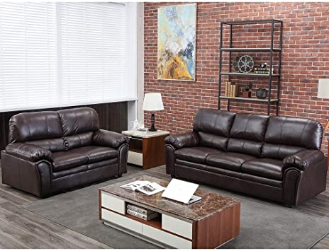 FDW Sofa Sectional Sofa for Living Room Furniture Set Couches and Sofas PU  Leather Sofa Set Modern Sofa Loveseat 3 Seat Contemporary,Brown