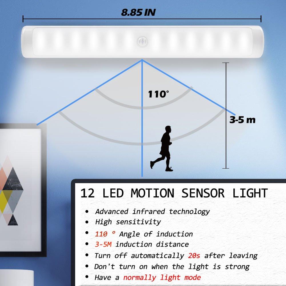 Motion Sensor Light,NOAUKA Sensor Night Light 4 Hooks Under Cabinet Lightening Wireless 12-LEDs Auto led Wardrobe USB Rechargerable,Super Bright White Light 3M Sticker Easy Installation PIR LED-001