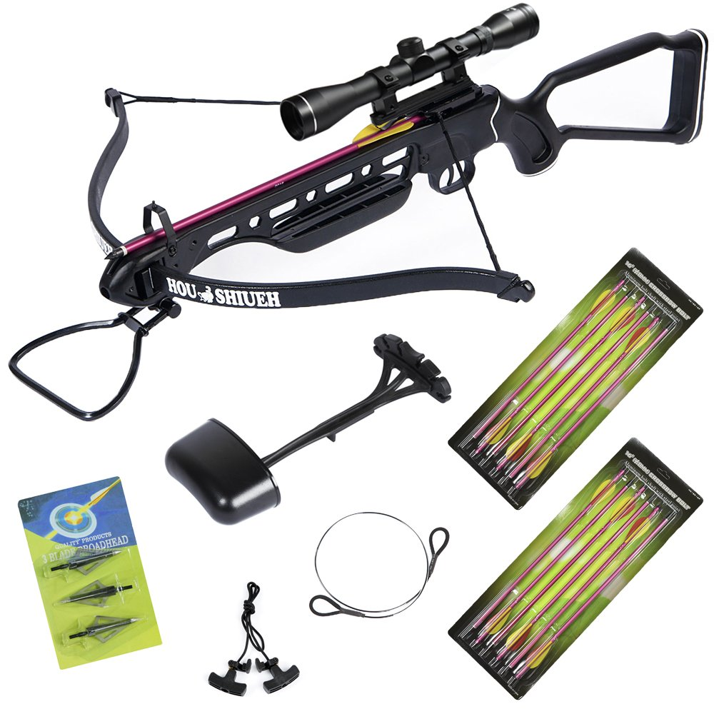 150 lb Black Hunting Crossbow Aluminum Stock +4x32 Scope +14 Arrows +Quiver +3 Broadheads +Rope Cocking Device +Stringer