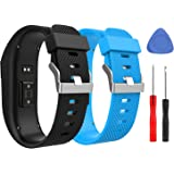MoKo Band for Fitbit Charge HR, [2 PACK] Premium Soft Rubber Adjustable Replacement Strap for Fitbit Charge HR Fitness Wristband, Large Size, Black & Sky Blue