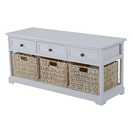 HOMCOM 40u201d Rustic Wooden 3 Drawer 3 Basket Storage Bench   Antique White