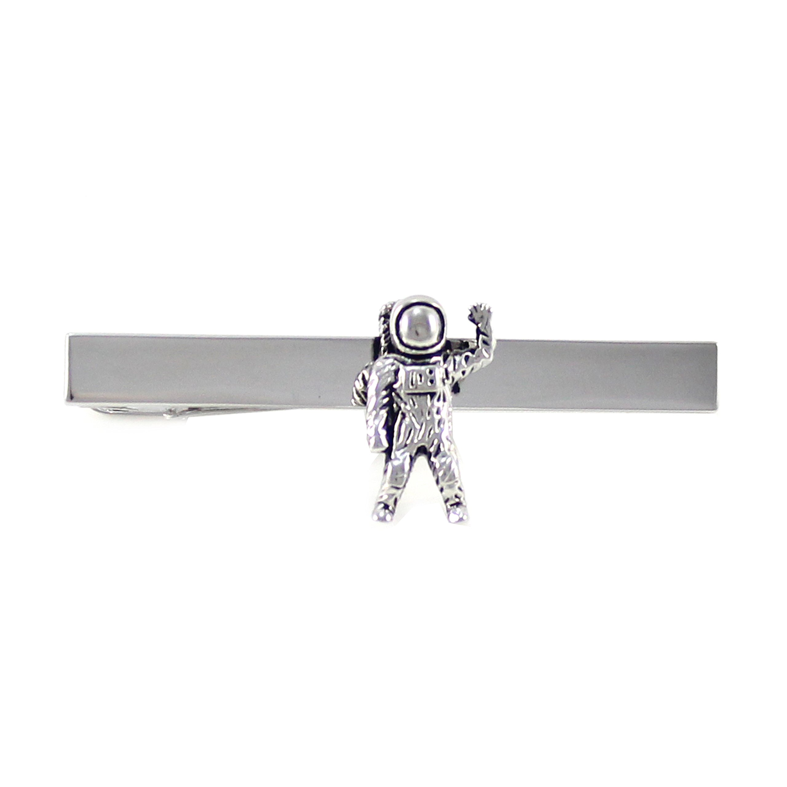 MENDEPOT Antique Silver Tone Astronaut Tie Clip With Gift Box Space Pilot Tie Clip