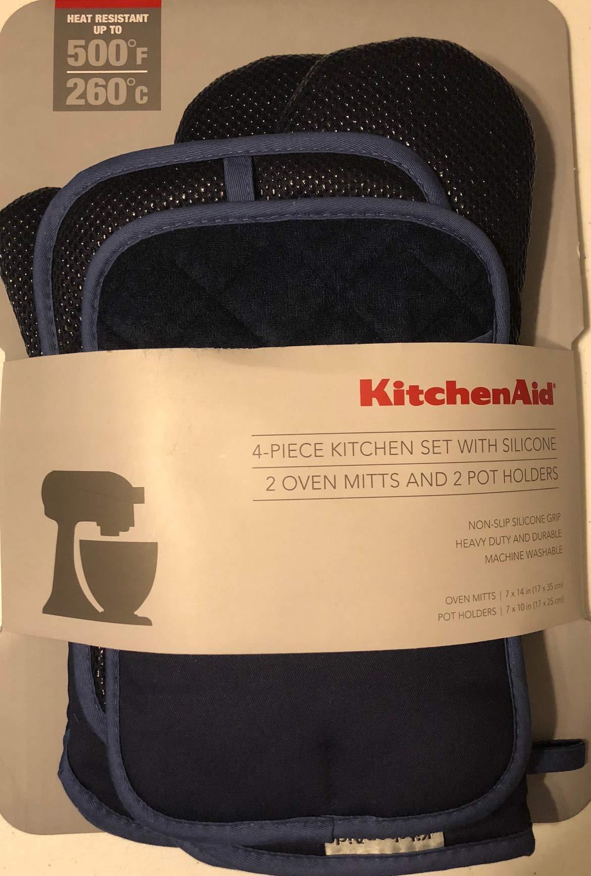 KitchenAid 4 Piece Kitchen Set w/Silicone 2 Oven Mitts, 2 Pot Holders (Blue) by KitchenAid