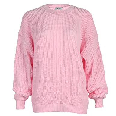 My1stwish Womens Oversized Ladies Knitted Baggy Chunky Jumper ...