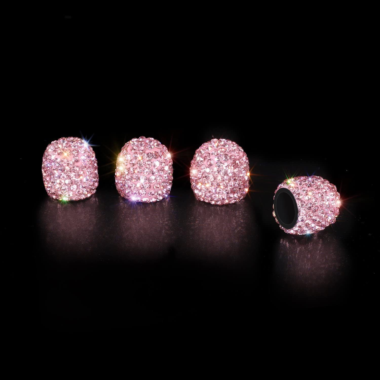 4 Pack Handmade Crystal Rhinestone Tire Caps SAVORI Valve Caps Crown Pink Attractive Dustproof Accessories for Car