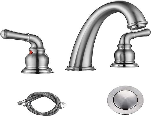 Bathroom Sink Faucet 3 Holes w// Overflow Popup Drain Brushed Nickel Widespread