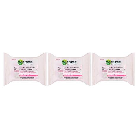 SkinActive Face Garnier Micellar Toallitas para la cara sensibles a la piel, paquete de 25