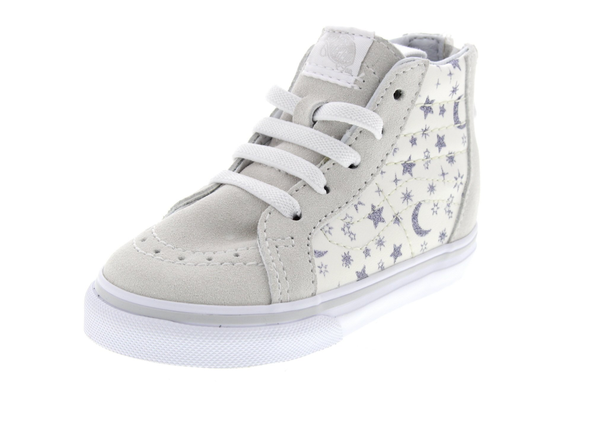 43b3ae588d Vans Toddlers Sk8-Hi Zip (Star Glitter) White VN0A32R3OS9 Toddler Size 6