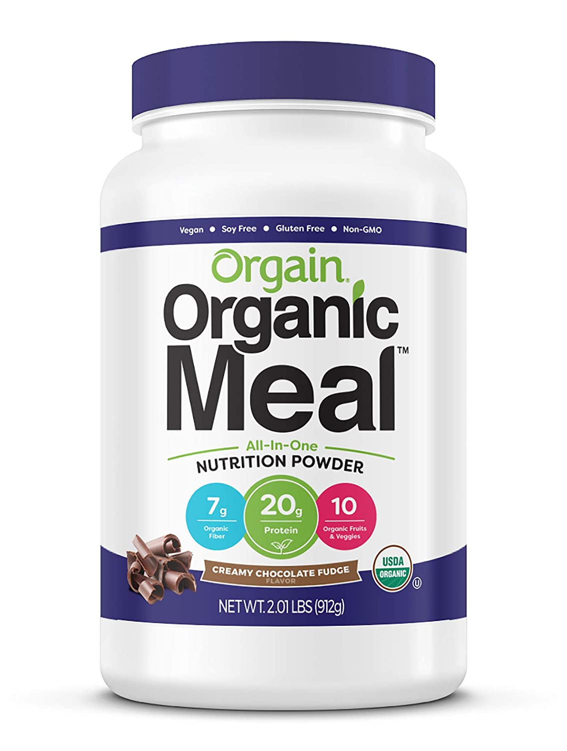 Orgain Organic Plant Based Meal Replacement Powder, Creamy Chocolate Fudge - 20g Protein, Vegan, Dairy Free, Gluten Free, Lactose Free, Kosher, Non-GMO, 2.01 Pound (Packaging May Vary) : Grocery & Gourmet Food